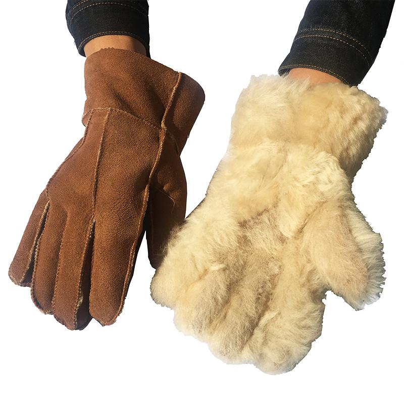 Men sheepskin gloves Winter Warm Gloves Camel Fashion Leather Wool Fur Men's Warming Male 100% Real Leather NM6