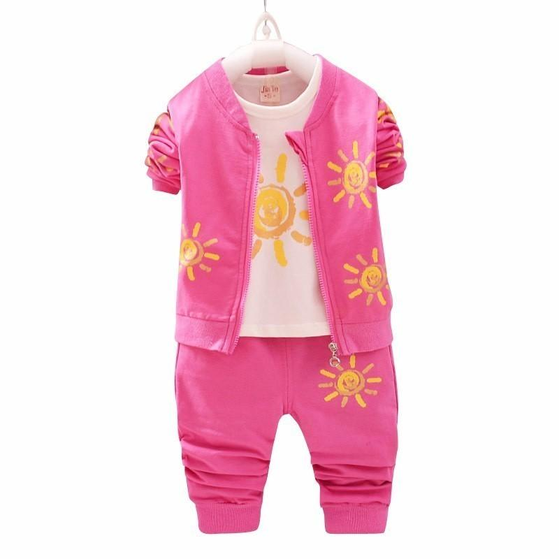 2019 Autumn Baby Girls Boys Clothing Sets Infant Clothes Suits Toddler Kids Costume Cartoon Sun Pattern Coats T Shirt Pants 3Pcs