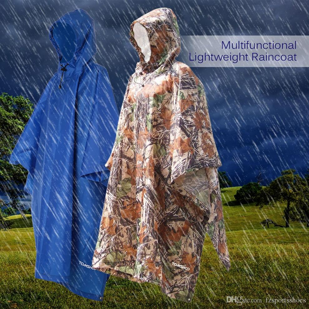 3 in 1 Raincoat Backpack Rain Cover Waterproof Tent Hood Hiking Cycling  Rain Cover Poncho Coat Outdoor Camping Tent Mat #16896