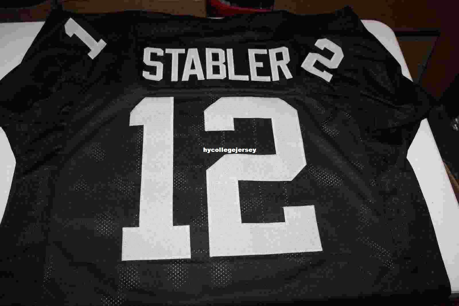 Cheap Retro KEN STABLER #12 CUSTOM STYLE MITCHELL & NESS Jersey BLACK 2016 Stitching men's Football Jerseys College NCAA