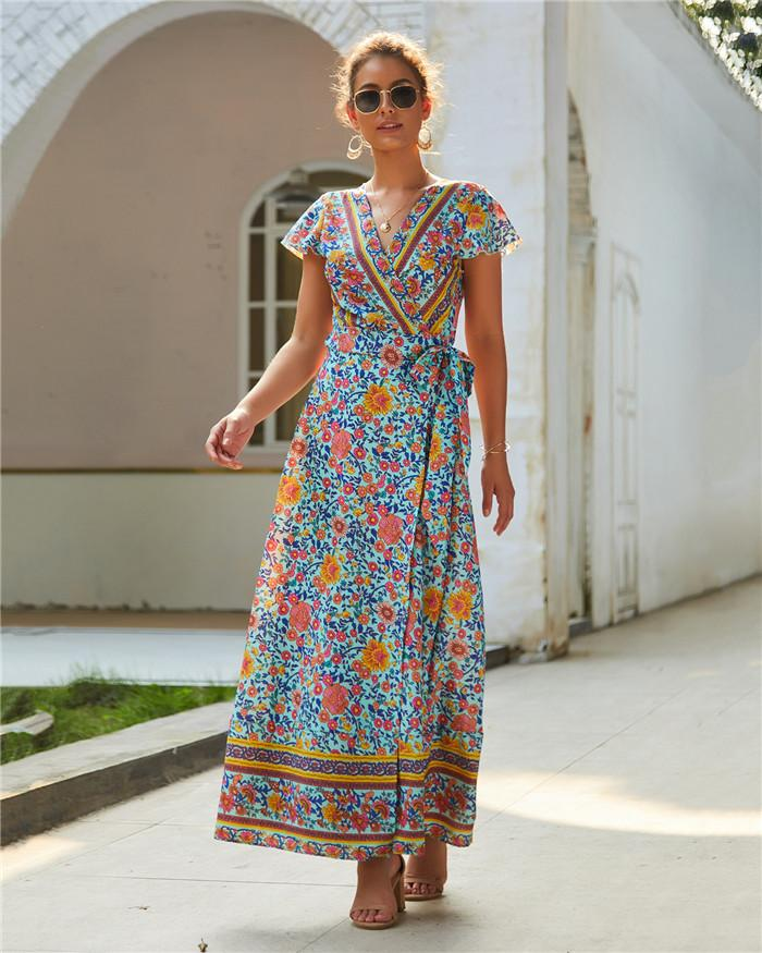 Sasher V Neck Asymmetrical Flora Printed Dresses Vacation Sexy Womens Split Dress Fashion Casual Summer Dresses