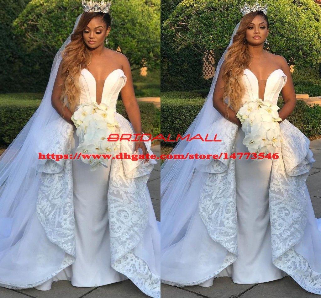 c9b3dbe532d 2019 Ruffles Peplum Lace Mermaid Wedding Dresses With Detachable Skirts Sweetheart  Wedding Dress Plus Size Bridal Gowns Vestidos De Novia Mermaid Beaded ...