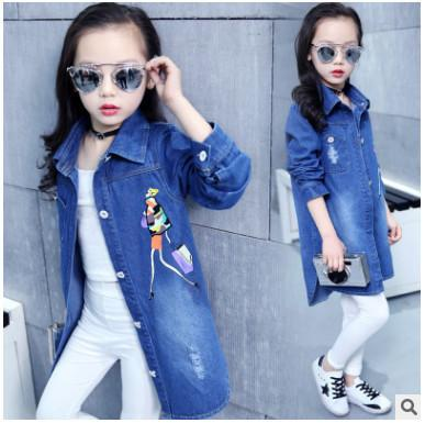 New Kids Girls Denim Jacket Children Girls Jackets and Coats Autumn Spring 2019 Girls Outwear Jeans Jacket Kids Long Denim Shirt