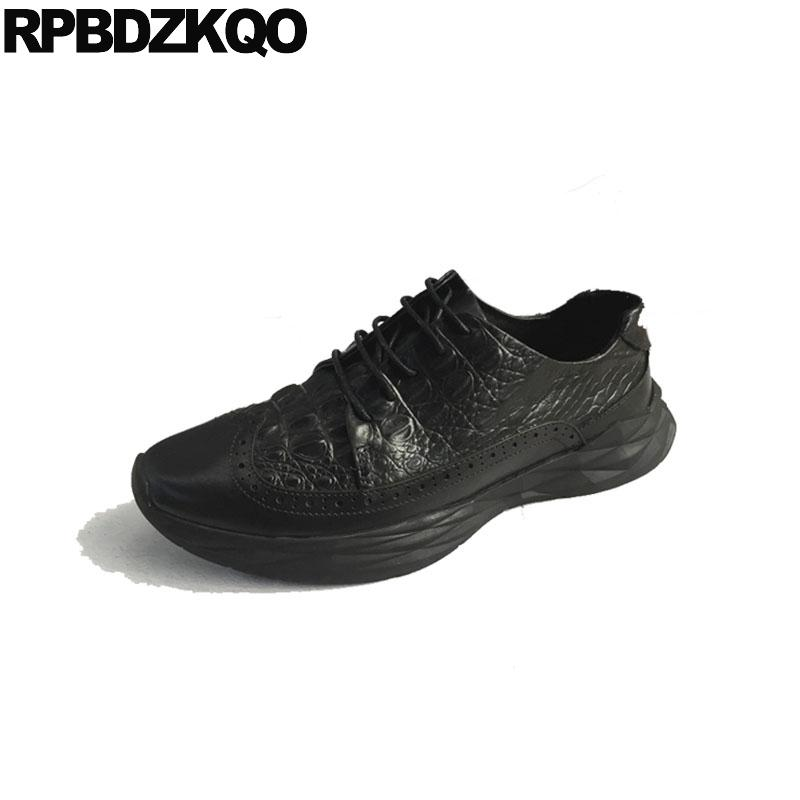72bcd3ce57103 Trainers Sneakers Brogue Brand Luxury Crocodile Shoes 2018 Casual Wingtip  Creepers Alligator Spring Comfort Black Men Vintage Gold Shoes Mens Casual  Shoes ...