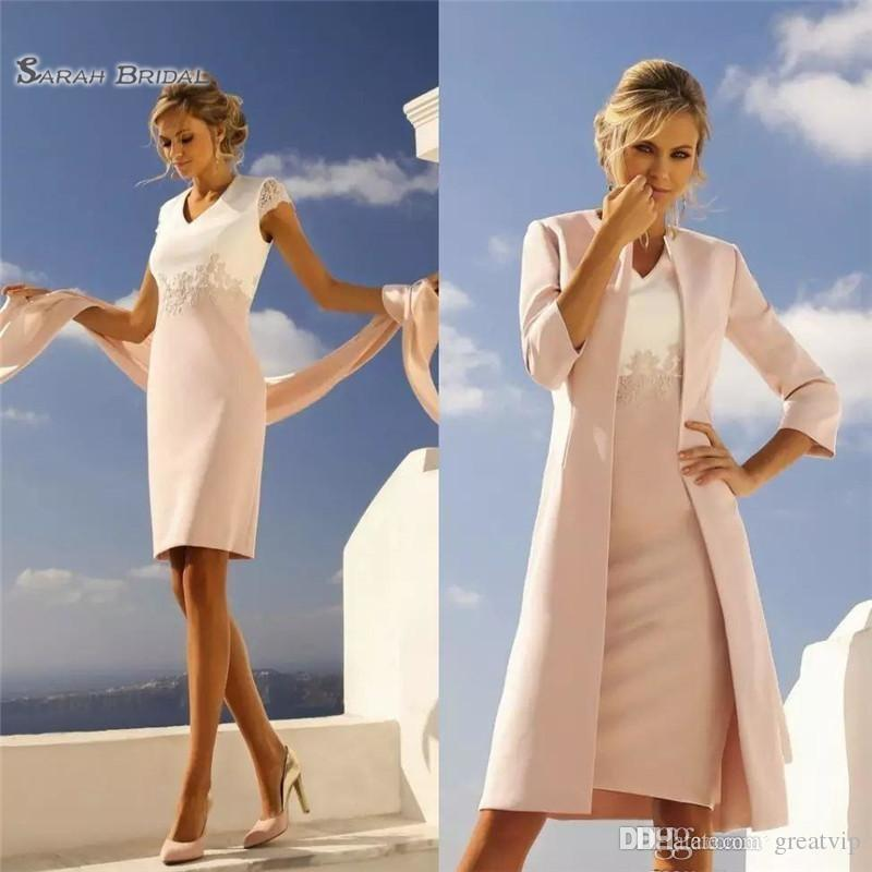 12e5b538aef Light Pink Mother Of The Bride Dresses With Jackets Satin Knee Length Lace  Cap Sleeve Mothers Wedding Guests Dress Prom Gowns Silk Mother Of The Bride  ...