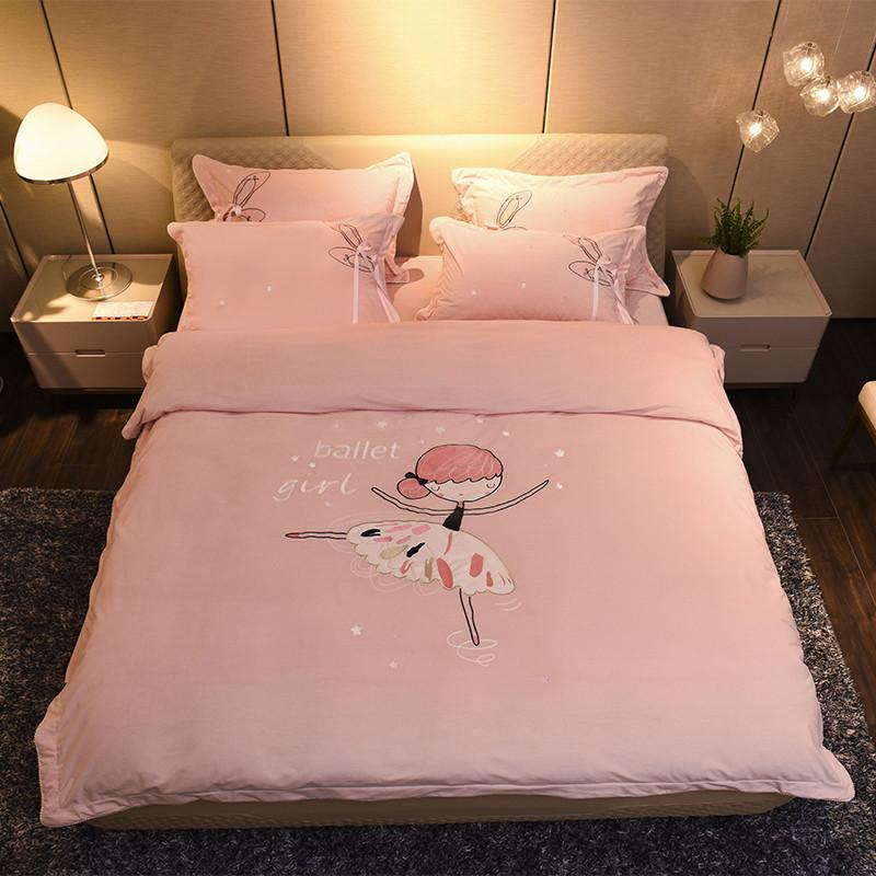 4Pieces Purple Pink Thick Fleece Warm Bed set Girls Princess Cute Bedding sets Queen size Duvet cover Bed sheet set 38
