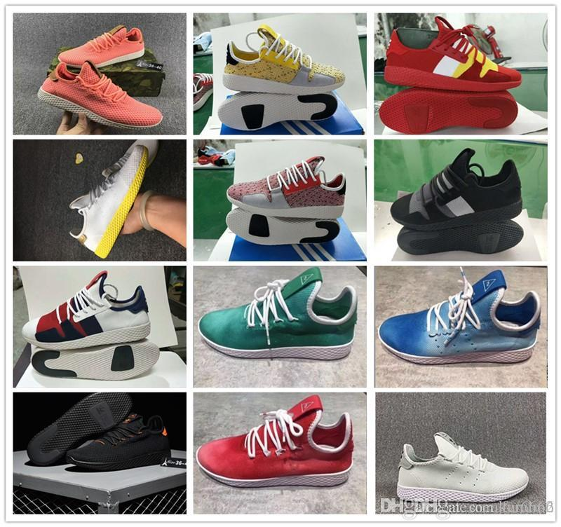 2018 Tennis Hu Mens Running Shoes Pharrell Williams x Stan Smith Women Runner Sports Shoe White Green Trainers Designer Sneakers