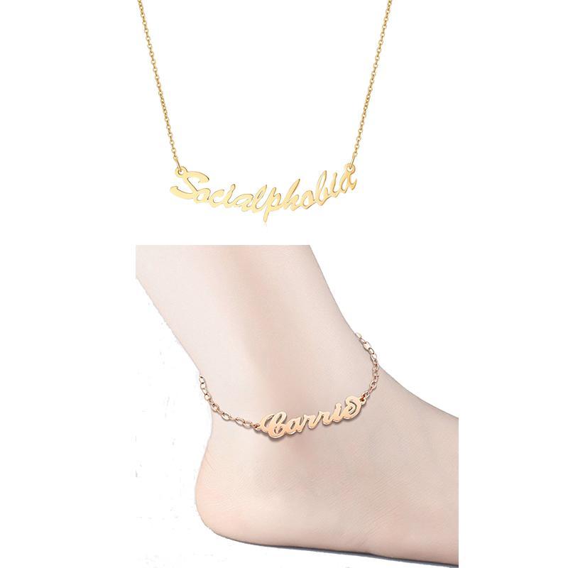 4e869f2c707c Compre Personalizado Nombre Personalizado Tobilleras Collares De Acero  Inoxidable De Color Oro Personalizada A Mano Conjunto De La Joyería De La  Placa De ...