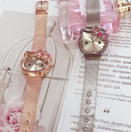 77b73c068 Cat Quartz Hello Kitty Watch Women Luxury Fashion Lady Girl Silver  Stainless Steel Net Band Cute Wristwatch Crystal Hour Gold Watch Deals Designer  Watch ...