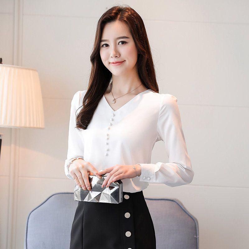 3d7eccf578184 2019 Blusas Mujer Moda 2019 Autumn Blouses Shirts Work Wear Office ...