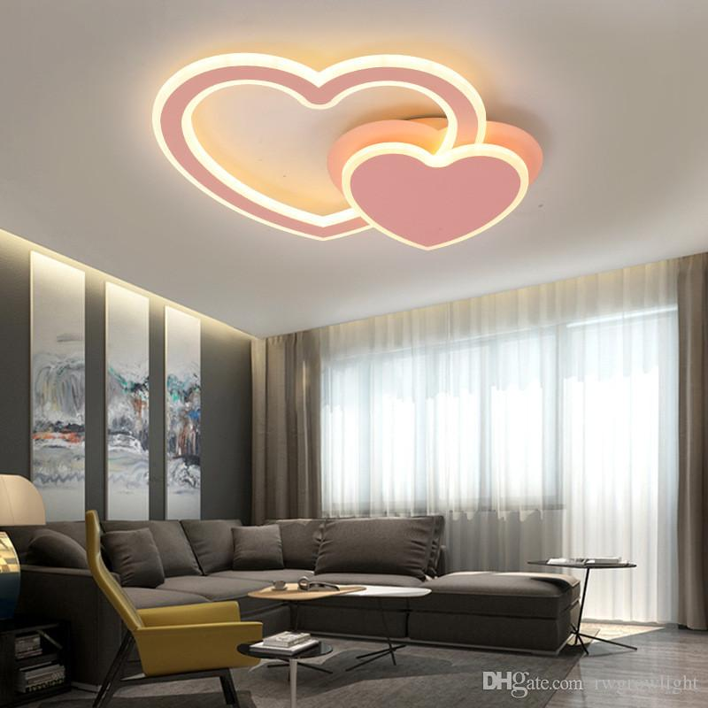 Creative Design Lamps And Lanterns Heart Shaped Romance Bedroom Lighting Led Ceiling Lamp Rotate Modern Acryl Ceiling Light I147