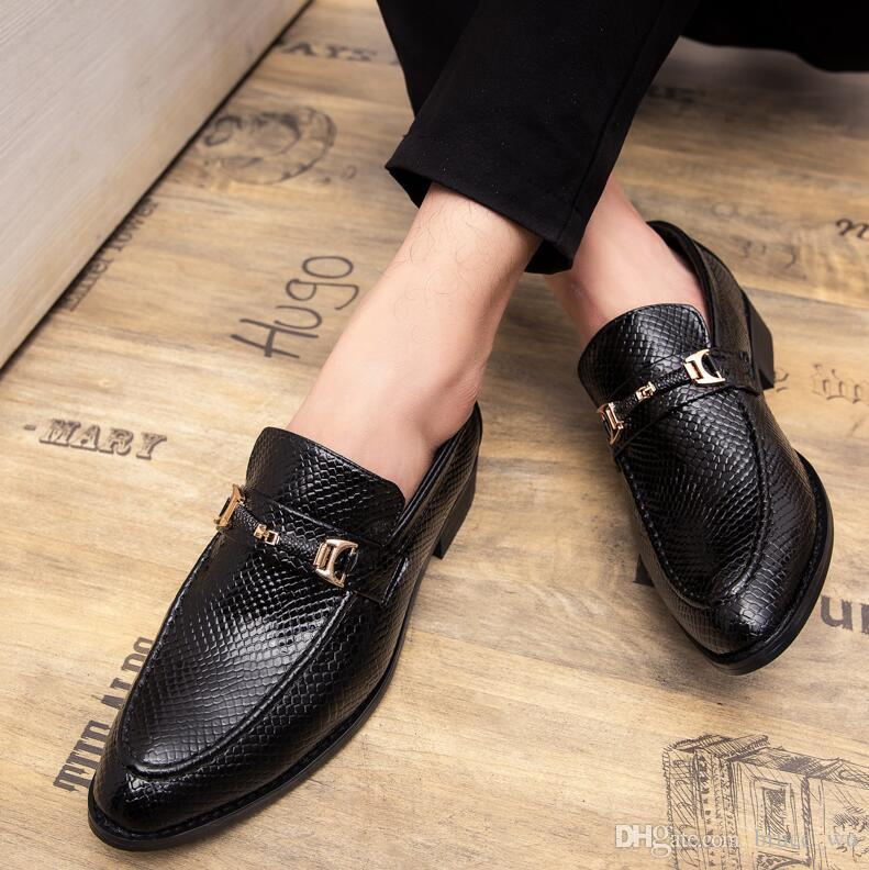 Compre Zapatos De Vestir Para Hombre Lujo Estilo Italiano Moda Para Hombre  Formal Para Hombres Patrón De Tendencia Zapatos De Fiesta De Boda De Cuero  A ... dda2320269e