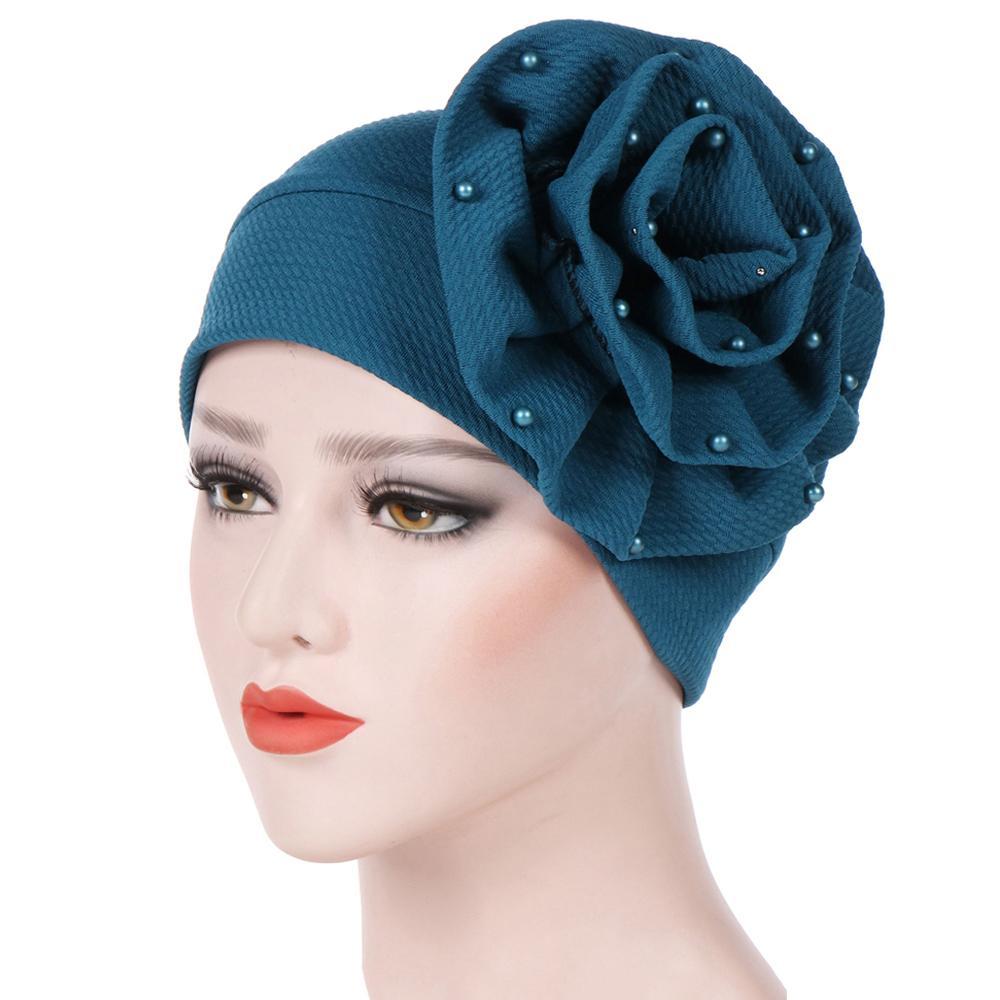 2b9f10051 1PC Women Stretchy Beanies with Big Flower Pearl Beading Hair Loss Cap  African Turban Boho Head Wrap Wedding Party Cap