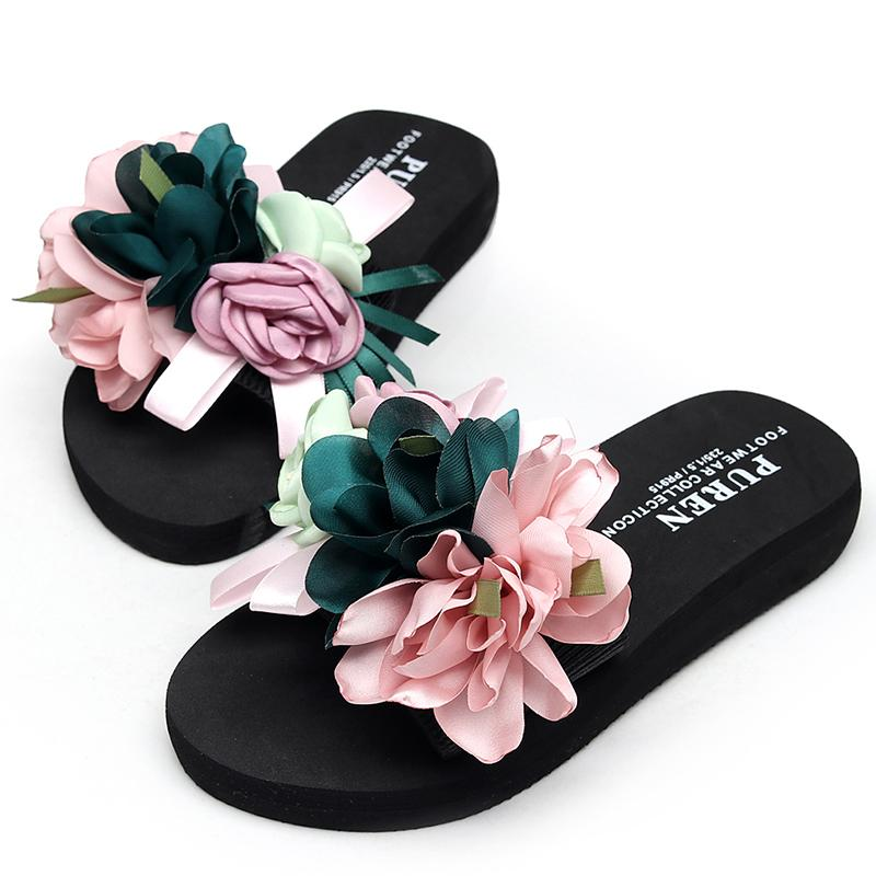 cb9125a8f564 Womens Slippers Fashion Flower DIY Personalized Flip Flops Beach Platform  Sandals Wedges Shoes Size 35 42 LOW Heel 3cm Slippers Rain Boots From  Fivestage