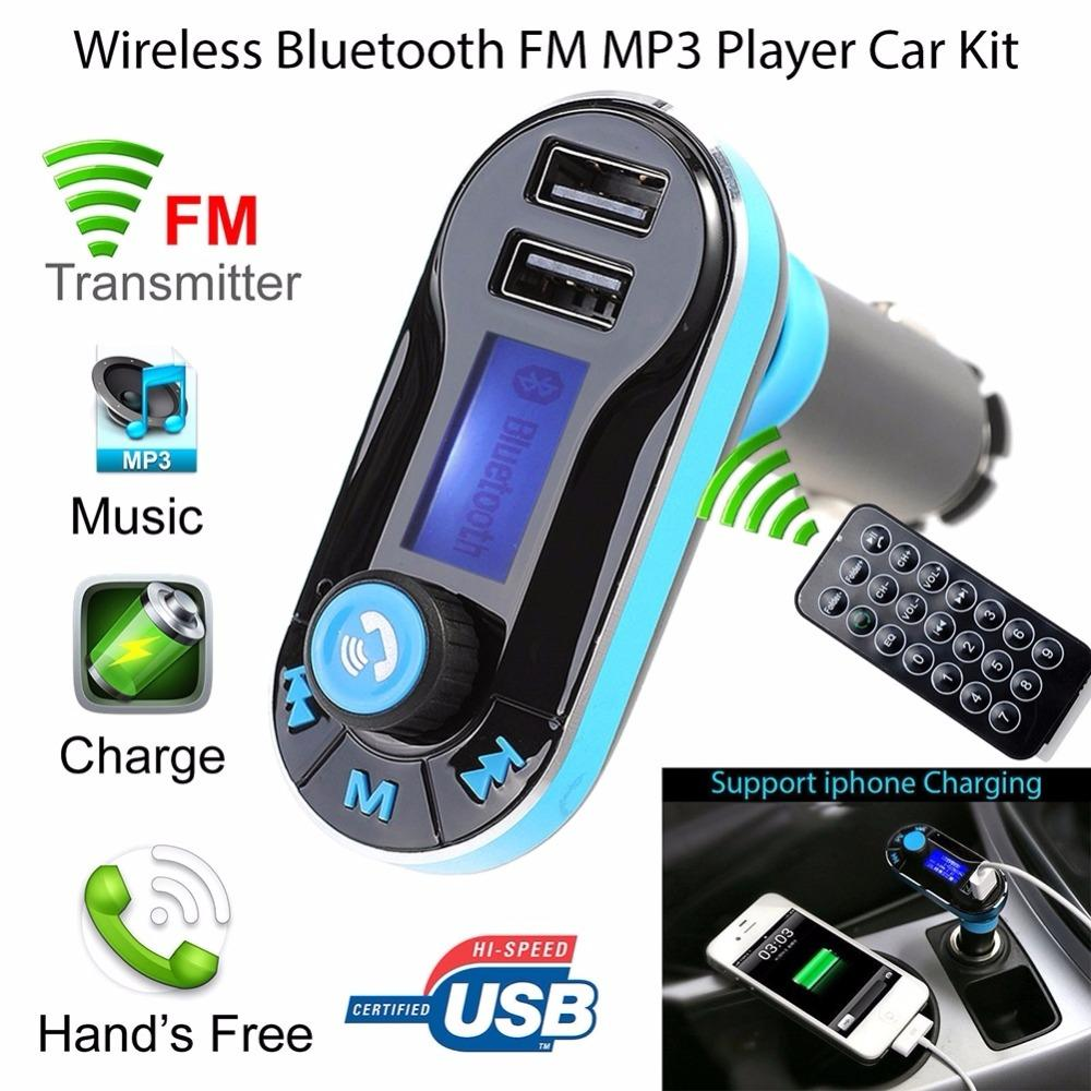 BT66 LCD Screen Universal Car Kit MP3 Player FM Transmitter AUX Wireless Car radio 2 USB Cargador Remote Control ST