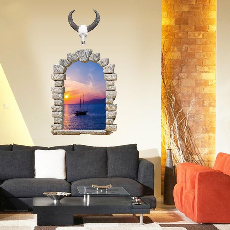 New 3D Landscape Fake Window Living Room Point Bedroom TV Decorative Wall Sticker