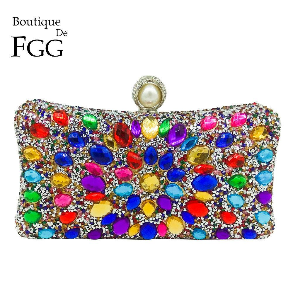 Boutique De Fgg Multi Color Crystal Women Pearl Beaded Black Evening Metal Clutches Bag Wedding Party Prom Bridal Handbag Purse J190630