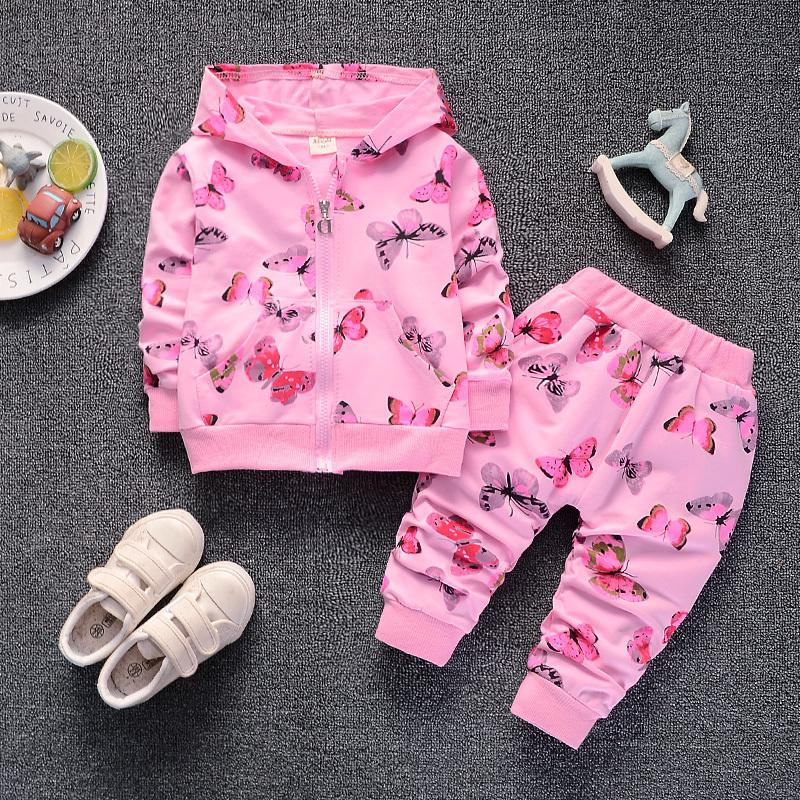 good qulaity baby girls spring autumn clothes set fashion infant kids clothing butterfly pattern printing jacket+pants newborn suits