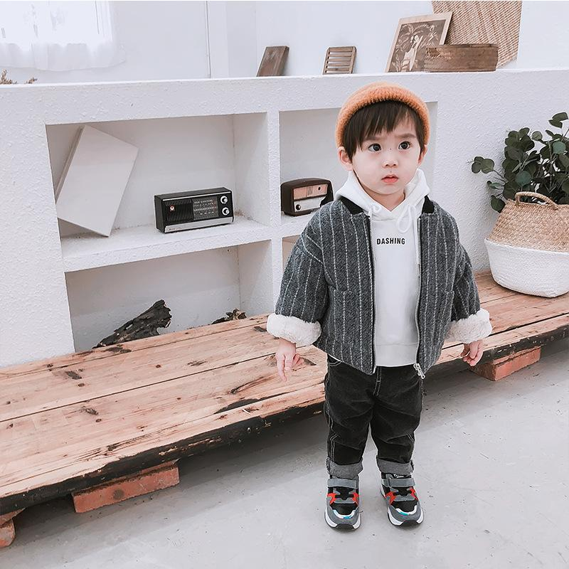 Compre 2018 Otoño Invierno Cuello Grueso Infantil Bebé Niño Chaqueta Infantil  Niño Rayas Piel De Conejo Cálido Prendas De Vestir Exteriores Abrigo Ropa  Para ... 572592683ec