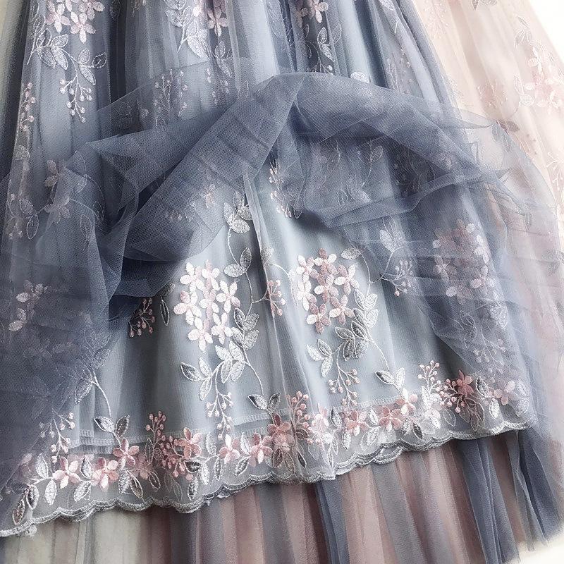 d6f501703 2019 Verano Floral Bordado Tul Faldas de Cintura Alta Una Palabra Falda  Larga Cintura Alta Falda Plisada Mujer Tutu Faldas C19040401