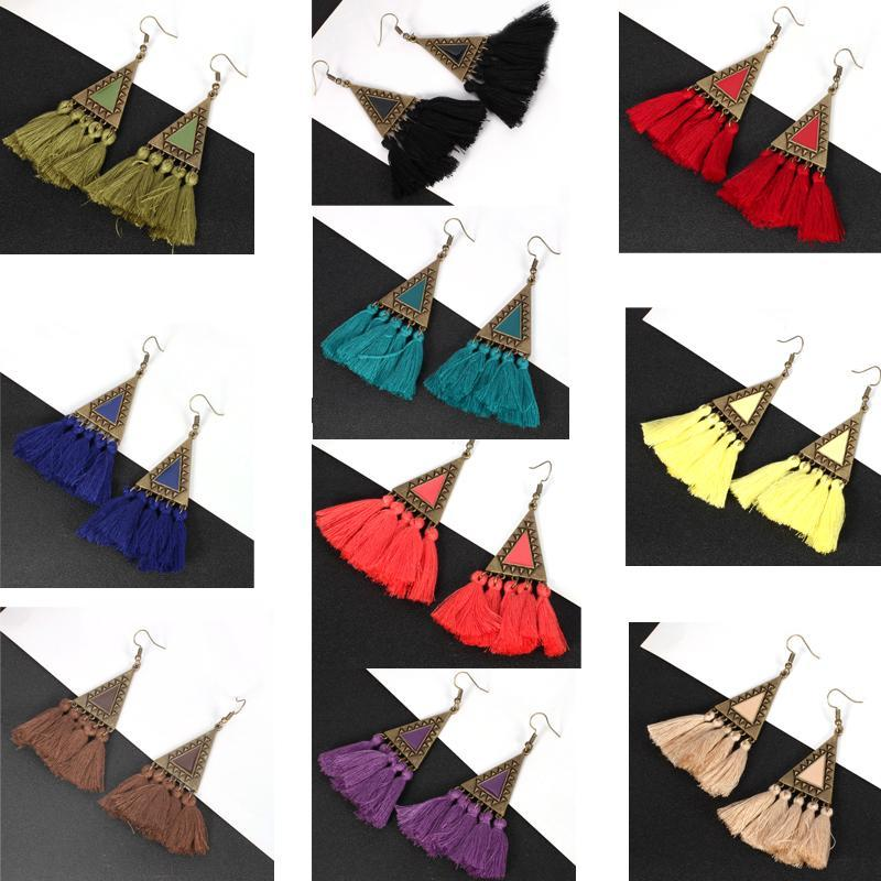 10-color European and American popular triangle women's exquisite tassel earrings wholesale