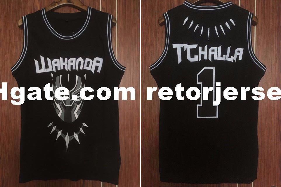 604617e98 2019 Wholesale Cheap TChalla  1 Black Panther Movie Wakanda Basketball  Black Jersey Stitched S 2XL From Retorjerseys