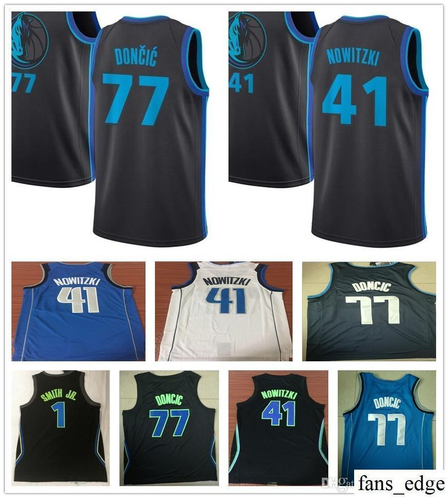 2018 Stitched 2019 New City Edition 1 Dennis Smith Jr. Jersey Navy Blue  White Black 41 Dirk Nowitzki 77 Luka Doncic Basketball Jerseys Embroidery  From ... db59921c0