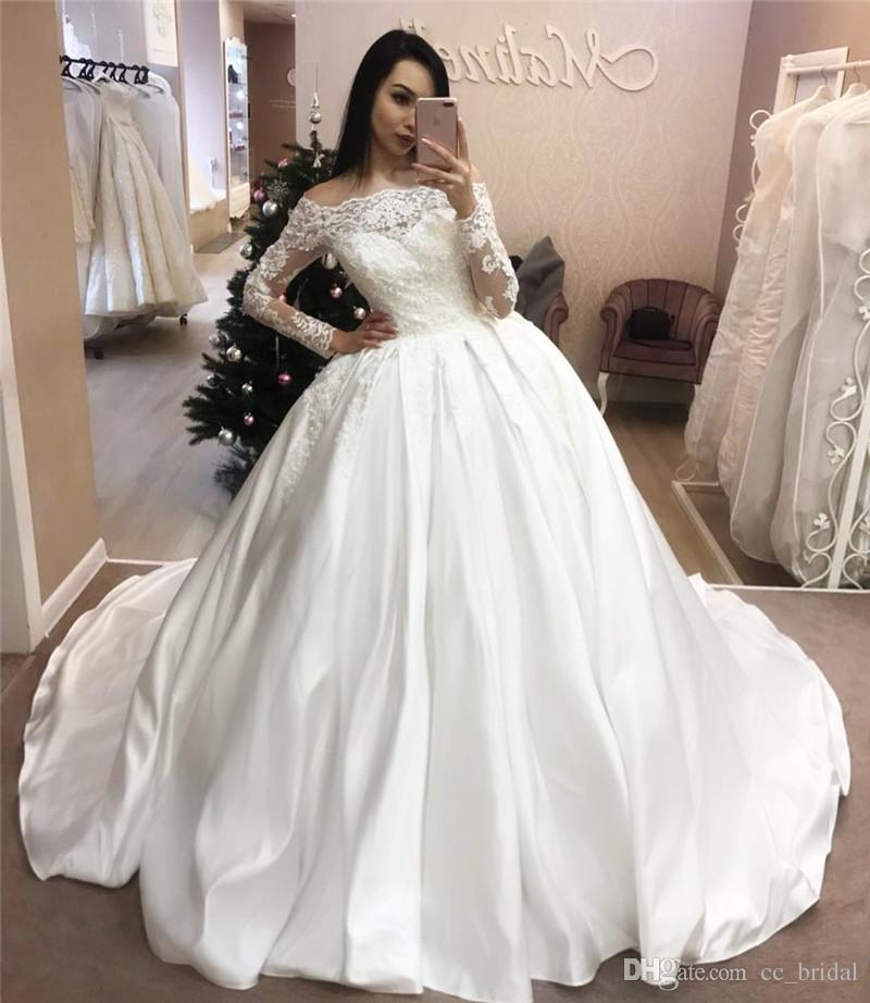 330bc784c Illusion Long Sleeves Saudi Arabic Wedding Dresses 2019 Vintage Appliques  Lace Puffy Ball Gown Bridal Gowns For Wedding Cheap Plus Size Wedding  Dresses Plus ...