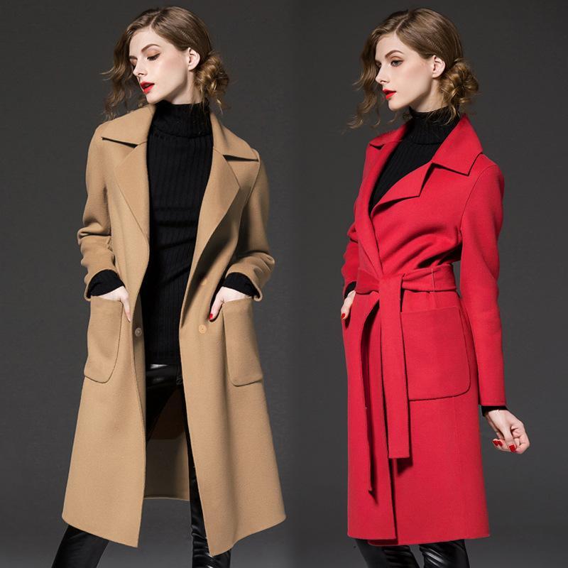 Acheter Manteau De Laine Femme Automne Hiver 2019 Nouvel Hiver L Europe Et  Les États Unis Grande Taille Manteau De Laine Coupe Vent Femme De  360.81  Du ... 195907b724f