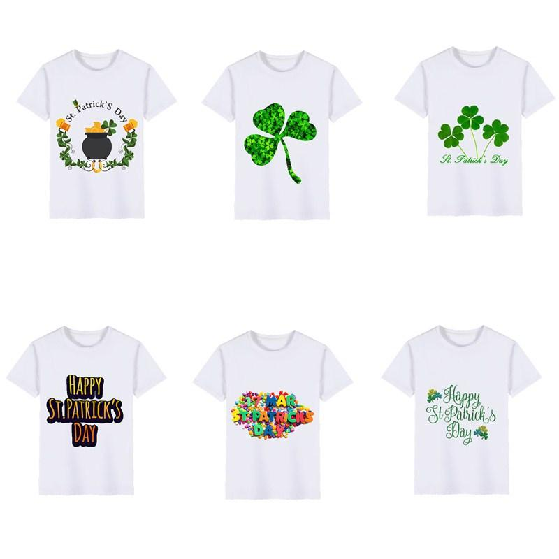 937e86db 3-8Y Boys and Girls T-Shirt St. Patrick's Day Children's Short Sleeve  Fashion Cute Print T-Shirt Top Baby Children's WearC19011501