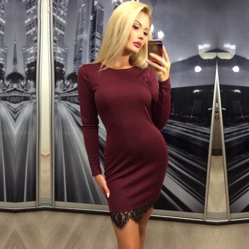 2017-Women-Autumn-Elegant-lace-solid-bodycon-dress-Vestidos-winter-long-sleeve-Christmas-evening-party-Wine