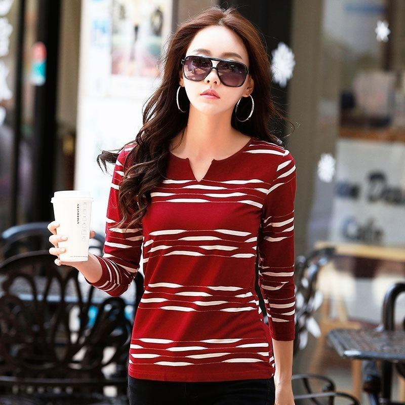 New Spring autumn T-shirts Women Tops Tees Long Sleeve V-neck Striped Fashion Female T-shirt Cotton T Shirt Women Pole