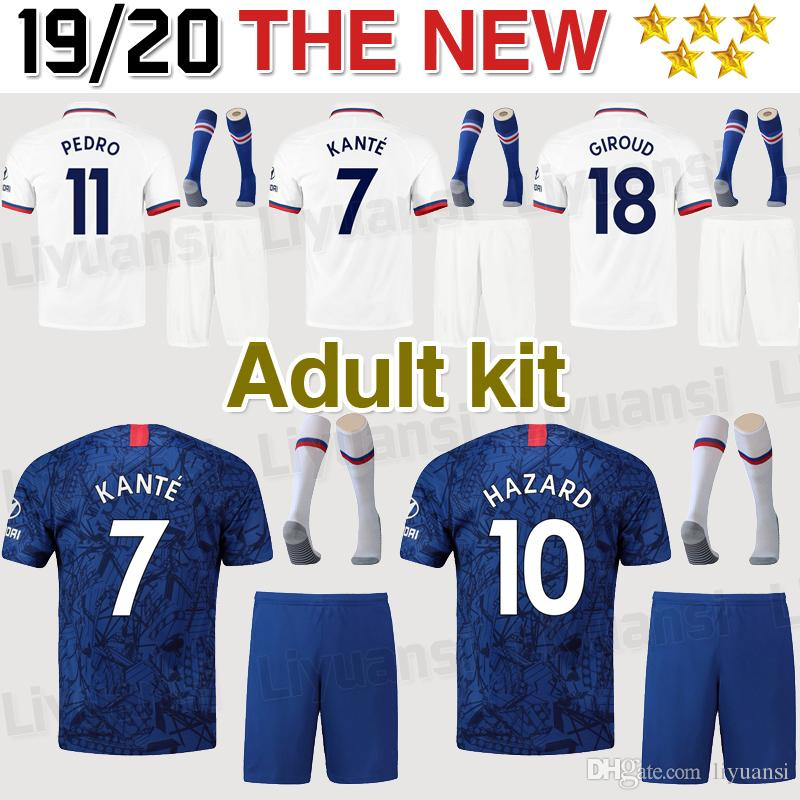 19 20 10 adultes en danger Kit maillot de football 2019 Accueil Bleu 7 KANTE 9 HIGUAIN hommes Football Maillots WILLIAN Football costume uniforme ventes