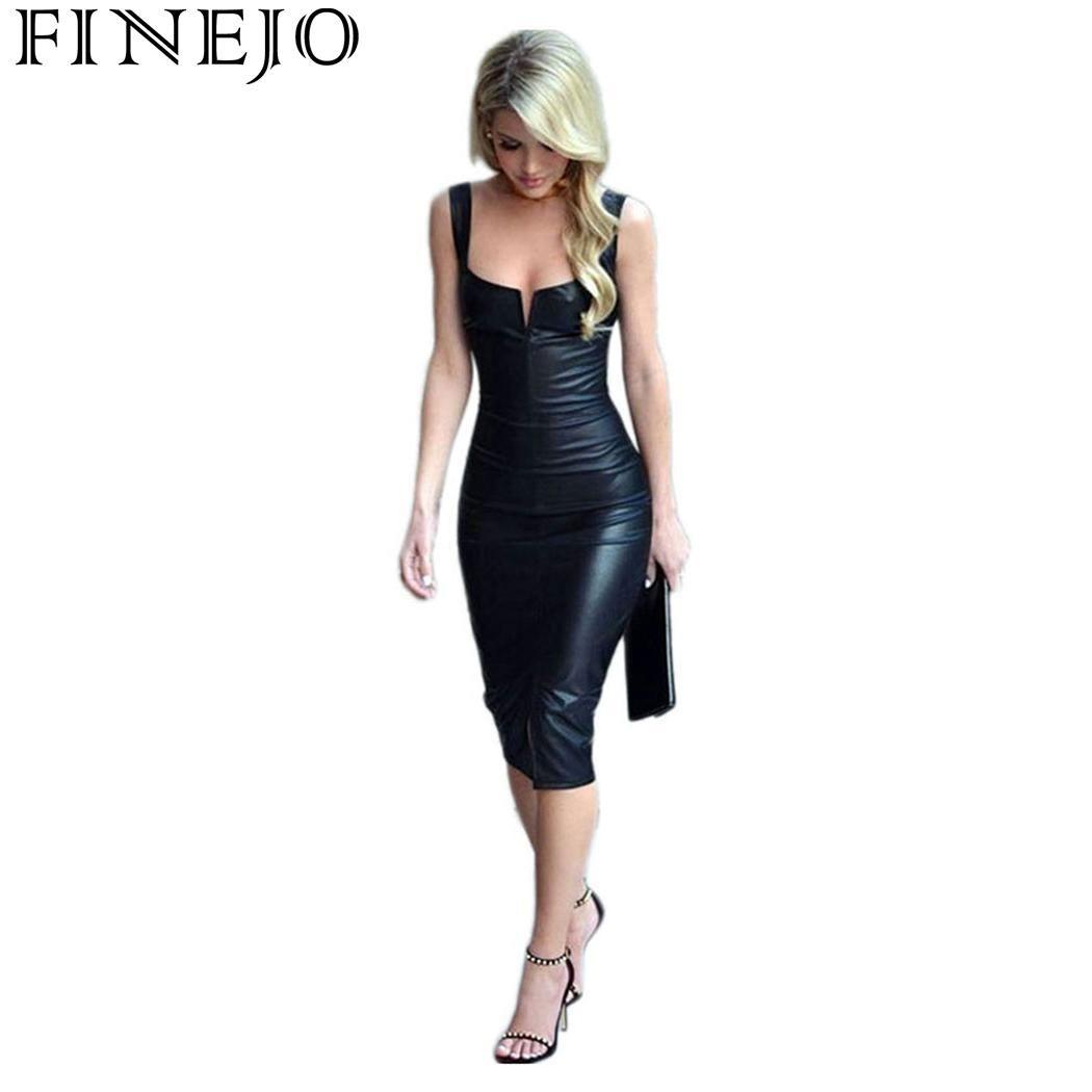 d5eb830bf95948 FINEJO Party Dress Women Leather Black Pencil Dresses Sleeveless Elegant  Slim Bodycon Club Wear Summer Women Vestidos Black Red And Black Party Dress  ...