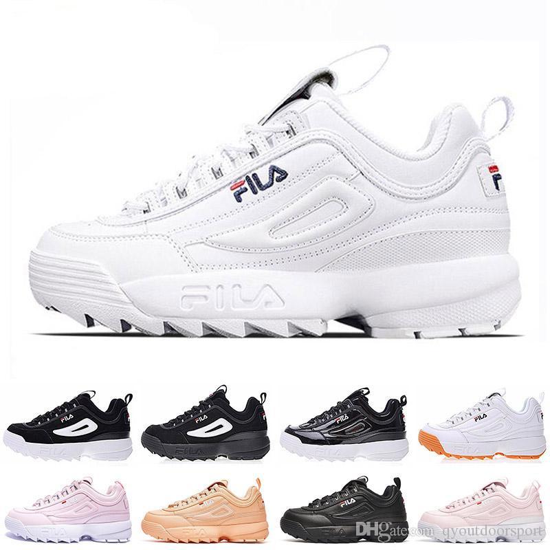 FILA 2019 New Designer Disruptors Triple Weiß Schwarz Grau Rosa Damen Herren Sport Sneaker Spezialbereich erhöht Jogging Laufschuhe 36 44