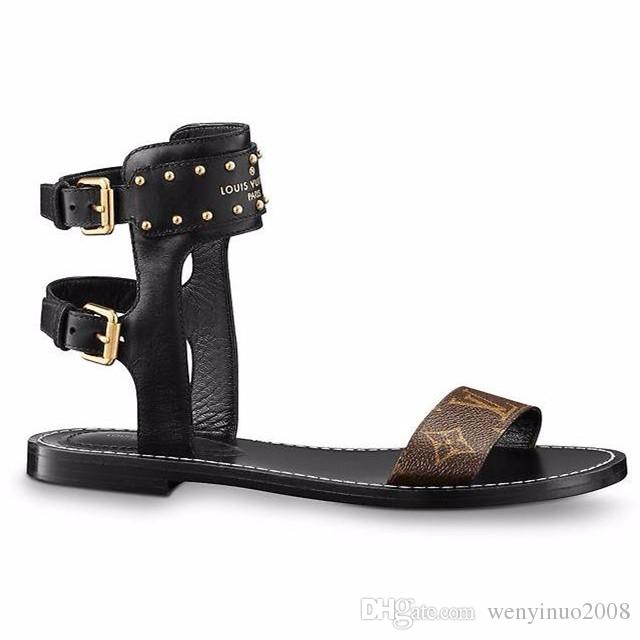 Branded Women Print Letter Leather Nomad Sandal Buckle Strap Elegant Girl Open Toe Studs Casual Sandals