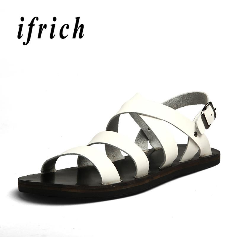 8911c8a6abb8 Designer Man Sandals Leather Beach Shoes Black White Gladiator Sandals Men  Summer Hole Shoes Men Flats Sandals Casual Shoes Mens Sandals Reef Sandals  From ...