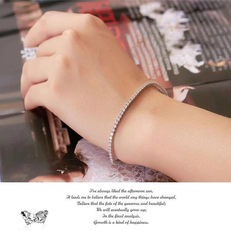 2.0mm/Each Wholesale Bracelet Luxury Jewelry Sterling Silver Bracelet Zircon Women 18K White Gold Plated Tennis Bridal