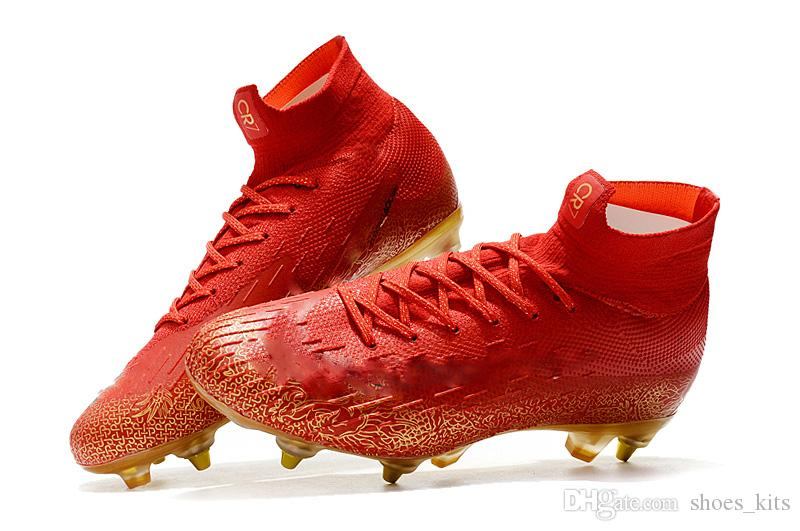 ebf47fc645 2019 Best Selling Red Gold Mercurial Superfly VI Elite SG AC VI 360 Elite  Mens Boys Soccer Shoes CR7 Cristiano Ronaldo 360 Football Boots Cleats From  ...