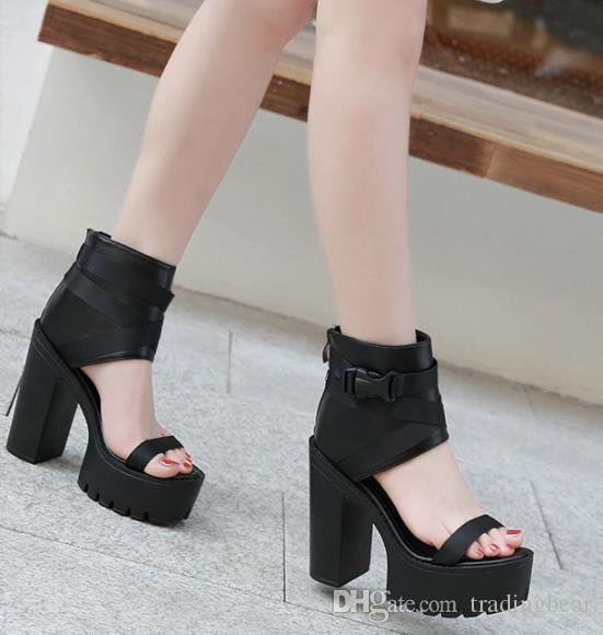 c9526eee954 Meilusi New Black Buckle Open Toe Platform Chunky Heel Gladiator Sandals  Fashion Women Designer Shoes Size 35 To 39 Women Shoes Summe Sandals Women  Dress ...
