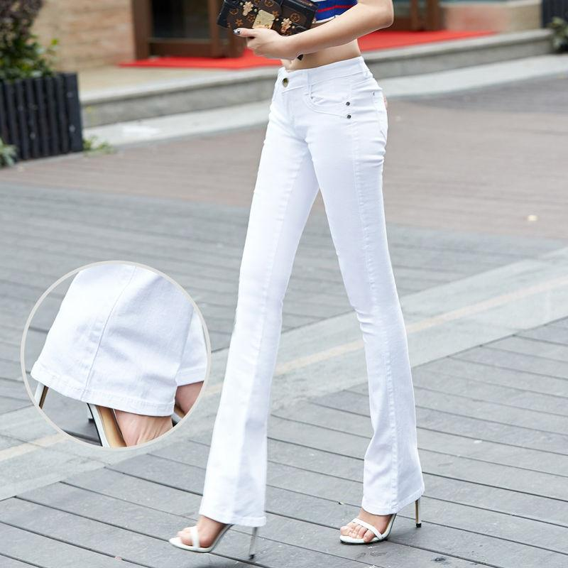 Weweya New Spring Slim Jeans Women Black Flare Jeans Pants Stretch Bell Bottom Skinny Femme Casual Denim Straight