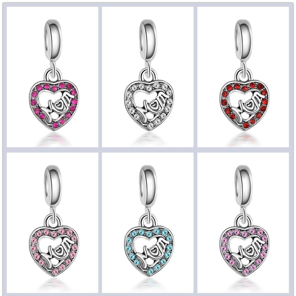 super popolare ab9b3 59f79 2019 gioielli festa della mamma strass di cristallo perle MAM fascino  argento grande foro distanziatore allentato perline artigianali pendente ...