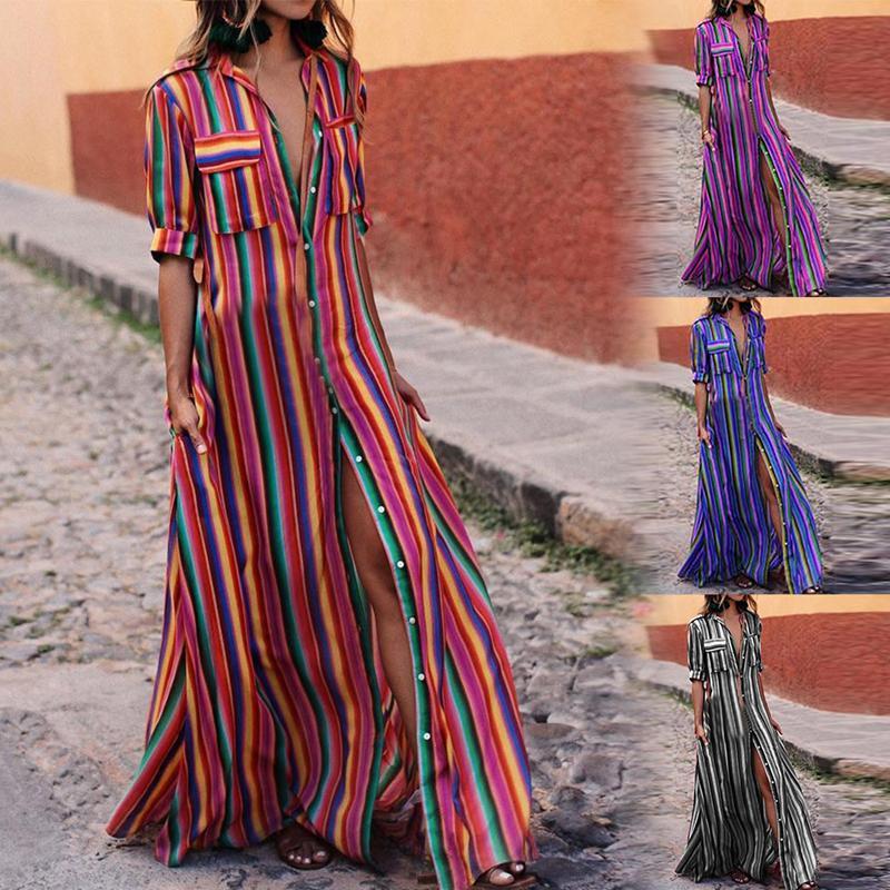 c9abbbb00832 Vestido de fiesta maxi sexy de playa de verano de las mujeres de alta  división de moda vestido de rayas de colores boho vestido de fiesta largo  robe