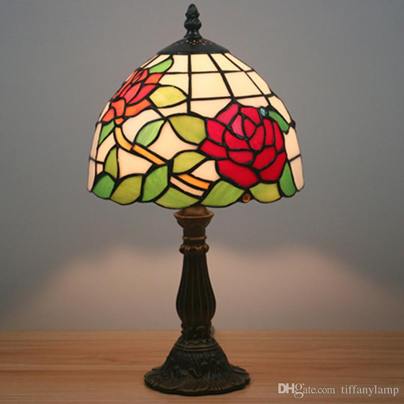 8 Inch Red Flowers Tiffany Table Lamp Country Style Stained Glass Lamp for Bedroom Bedside Lamp Fashion Girls Room Study Desk Light Dimming