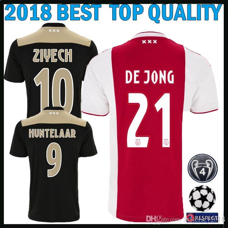 5ad58e633 2019 Champions League 2018 2019 Ajax Fc Soccer Jerseys 21 DE JONG 18 19  Camisa ZIYECH TADIC HUNTELAAR SCHONE 2018 Ajax Home Away Football Shirts  From ...