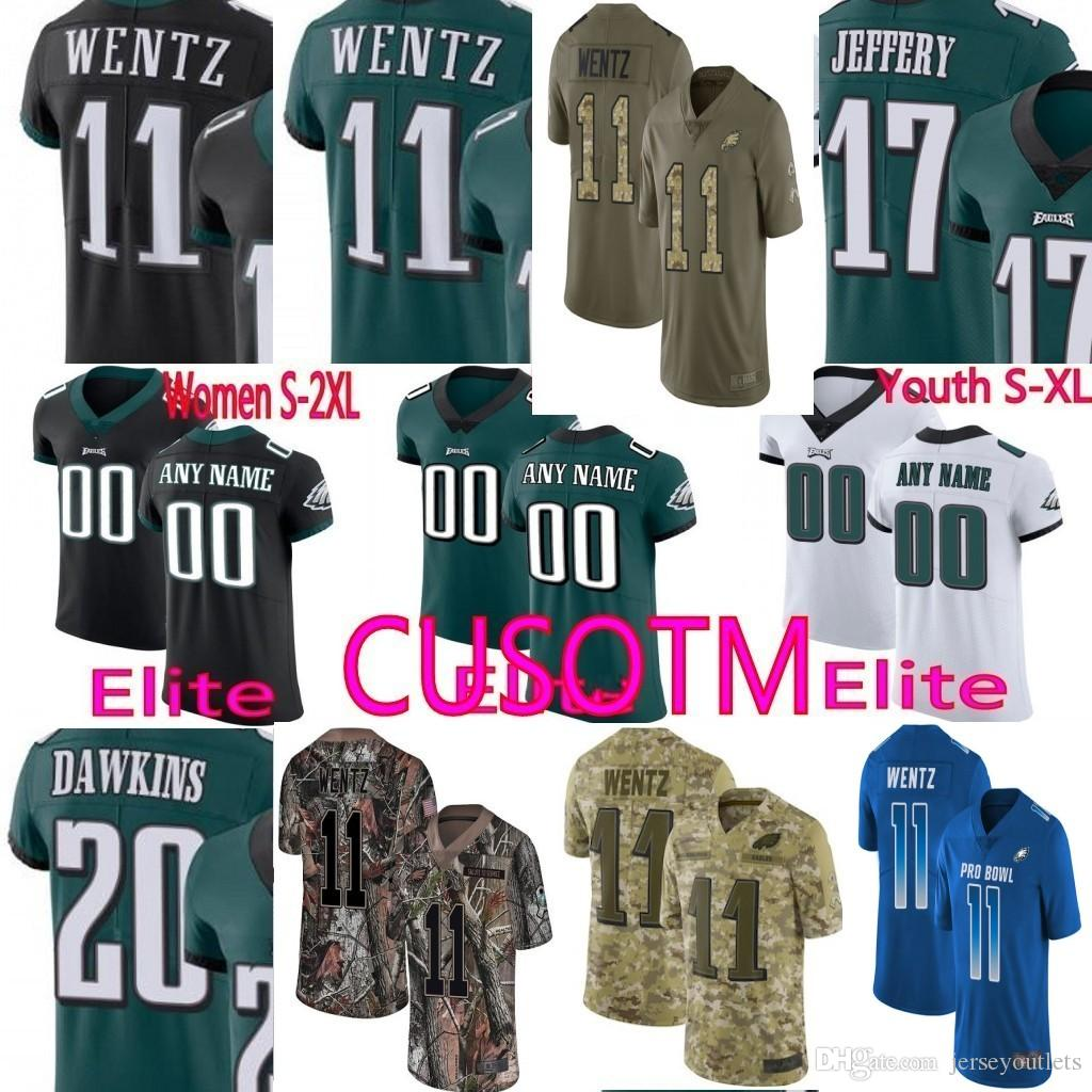 buy popular 2251b d68a0 Custom Carson Wentz 19 Golden Tate III Jersey Eagles 26 Jay Ajayi 59 Joe  Walker 65 Lane Johnson 12 Randall Cunningham Jersey 01