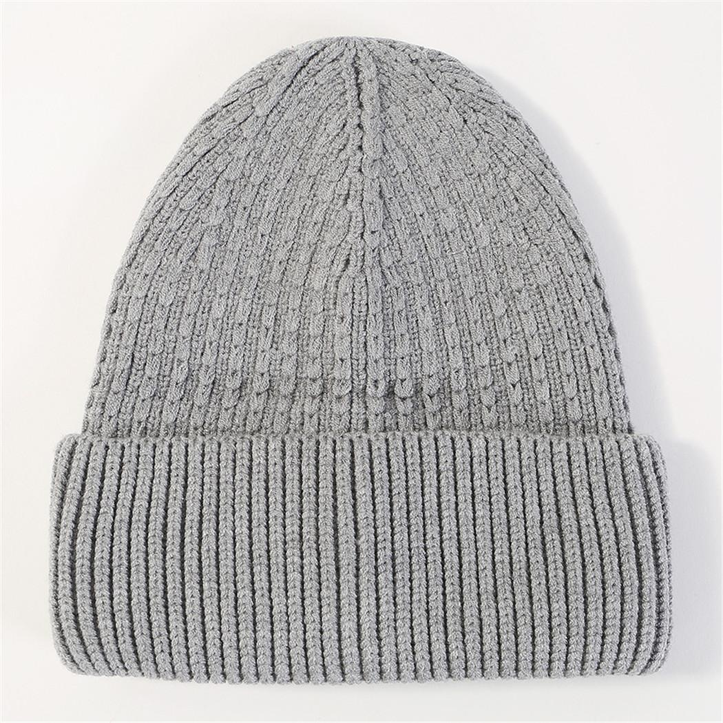 bf10e530999723 Fashion Solid Color Knitted Beanies Hats For Women New Winter Warm ...