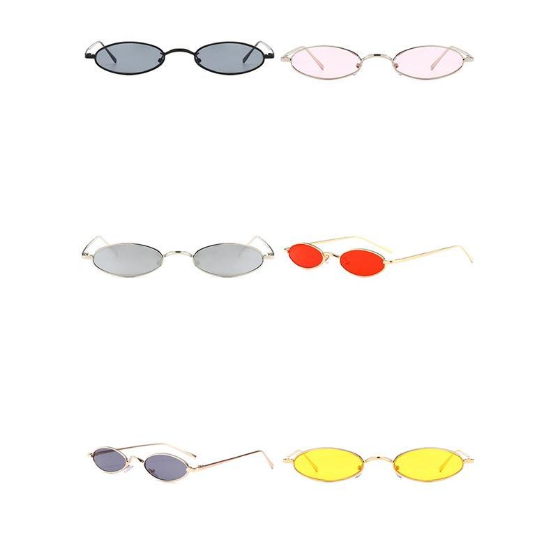 4576df6ea Compre Pequenos Óculos De Sol Ovais Para Homens Masculino Retro Moldura De  Metal Amarelo Vermelho Do Vintage Pequeno Rodada Óculos De Sol Para As  Mulheres ...