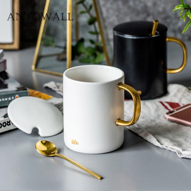 Antowall European Ceramic Drinkware Marble Mug Breakfast Office