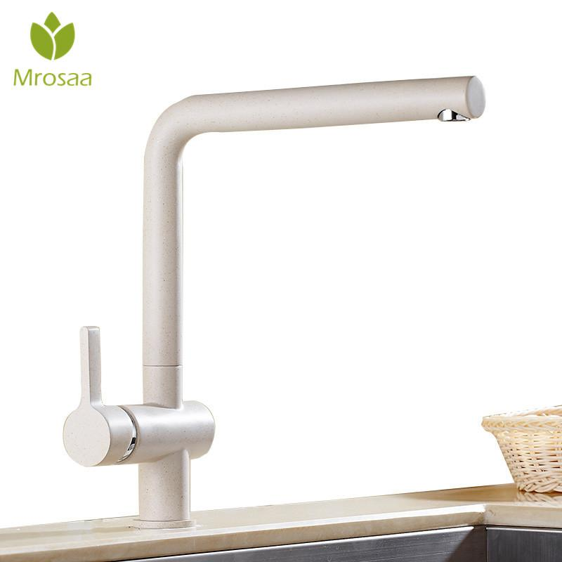 Oatmeal Color Brass 360 Degree Rotation Bathroom Kitchen Faucets Hot & Cold Swivel Spout Basin Sink Mixer Taps Ceramic Valves